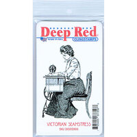 Deep Red Stamps - Cling Mounted Rubber Stamp - Victorian Seamstress