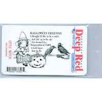 Deep Red Stamps - Cling Mounted Rubber Stamp - Little Witch