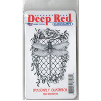 Deep Red Stamps - Cling Mounted Rubber Stamp - Dragonfly Quatrefoil