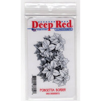 Deep Red Stamps - Cling Mounted Rubber Stamps - Christmas - Poinsettia Border