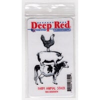 Deep Red Stamps - Cling Mounted Rubber Stamps - Farm Animal Stack