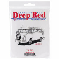 Deep Red Stamps - Cling Mounted Rubber Stamp - VW Bus