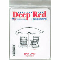 Deep Red Stamps - Cling Mounted Rubber Stamp - Beach Chairs