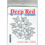 Deep Red Stamps - Cling Mounted Rubber Stamp - Stitched Flowers