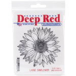 Deep Red Stamps - Cling Mounted Rubber Stamp - Large Sunflower