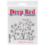 Deep Red Stamps - Cling Mounted Rubber Stamp - Attack Cat