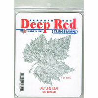 Deep Red Stamps - Cling Mounted Rubber Stamp - Autumn Leaf