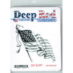 Deep Red Stamps - Cling Mounted Rubber Stamp - Old Glory