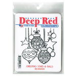 Deep Red Stamps - Cling Mounted Rubber Stamp - Christmas Stars and Balls