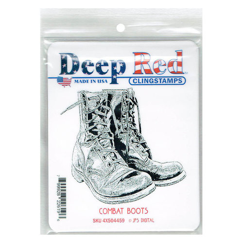 Deep Red Stamps - Cling Mounted Rubber Stamp - Combat Boots