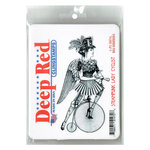Deep Red Stamps - Cling Mounted Rubber Stamp - Steampumk Lady Cyclist