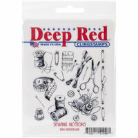 Deep Red Stamps - Cling Mounted Rubber Stamp - Sewing Notions Background