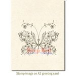 Deep Red Stamps - Cling Mounted Rubber Stamp - Floral Butterfly