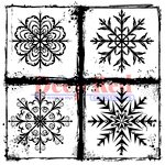 Deep Red Stamps - Cling Mounted Rubber Stamp - Frosted Snowflakes