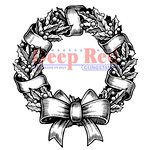 Deep Red Stamps - Cling Mounted Rubber Stamp - Holly Wreath