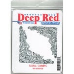 Deep Red Stamps - Cling Mounted Rubber Stamp - Floral Corners