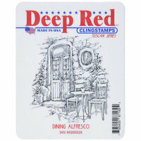 Deep Red Stamps - Cling Mounted Rubber Stamp - Dining Alfresco