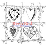 Deep Red Stamps - Cling Mounted Rubber Stamp - Color Me Heart Frame