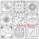Deep Red Stamps - Cling Mounted Rubber Stamp - Color Me Spring Quilt