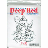 Deep Red Stamps - Cling Mounted Rubber Stamp - Tea Set