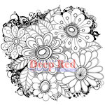 Deep Red Stamps - Cling Mounted Rubber Stamp - Color Me Daisies