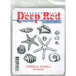 Deep Red Stamps - Cling Mounted Rubber Stamp - Starfish and Shells