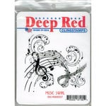 Deep Red Stamps - Cling Mounted Rubber Stamp - Music Swirl