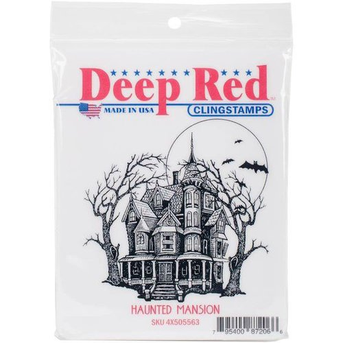 Deep Red Stamps - Halloween - Cling Mounted Rubber Stamp - Haunted Mansion