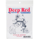 Deep Red Stamps - Christmas - Cling Mounted Rubber Stamp - Woodland Snowman