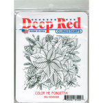 Deep Red Stamps - Christmas - Cling Mounted Rubber Stamp - Color Me Poinsettia