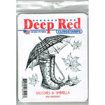 Deep Red Stamps - Cling Mounted Rubber Stamp - Galoshes and Umbrella