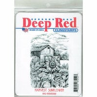 Deep Red Stamps - Cling Mounted Rubber Stamp - Harvest Sunflower