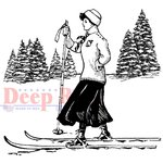 Deep Red Stamps - Cling Mounted Rubber Stamp - Vintage Skier