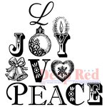 Deep Red Stamps - Christmas - Cling Mounted Rubber Stamp - Joy Peace Love