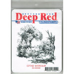 Deep Red Stamps - Cling Mounted Rubber Stamp - Cottage Watercolor