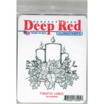 Deep Red Stamps - Christmas - Cling Mounted Rubber Stamp - Poinsettia Candles