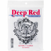 Deep Red Stamps - Cling Mounted Rubber Stamp - Butterfly Flourish