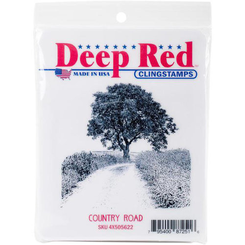 Deep Red Stamps - Cling Mounted Rubber Stamp - Country Road