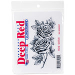 Deep Red Stamps - Cling Mounted Rubber Stamp - Rose Sketch