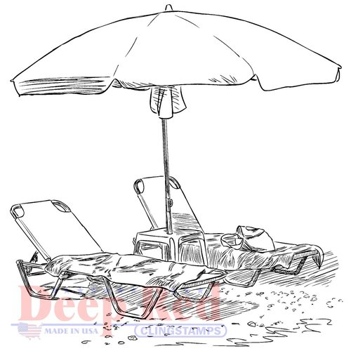 Deep Red Stamps - Cling Mounted Rubber Stamp - Oceanside Loungers