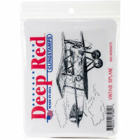Deep Red Stamps - Cling Mounted Rubber Stamp - Vintage Biplane