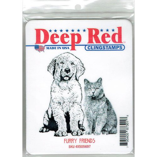Deep Red Stamps - Cling Mounted Rubber Stamp - Furry Friends