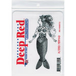Deep Red Stamps - Cling Mounted Rubber Stamp - Altered Mermaid