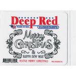 Deep Red Stamps - Cling Mounted Rubber Stamp - Festive Merry Christmas