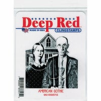 Deep Red Stamps - Cling Mounted Rubber Stamp - American Gothic