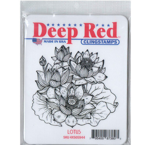 Deep Red Stamps - Cling Mounted Rubber Stamp - Lotus