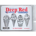 Deep Red Stamps - Cling Mounted Rubber Stamp - Ice Cream Border