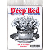 Deep Red Stamps - Cling Mounted Rubber Stamp - Teacup Flowers
