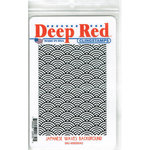 Deep Red Stamps - Cling Mounted Rubber Stamp - Japanese Waves Background