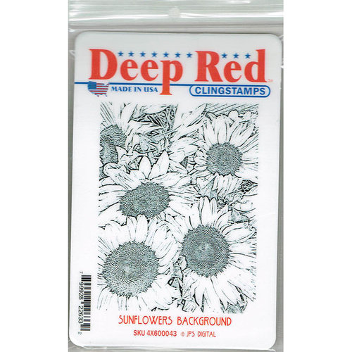 Deep Red Stamps - Cling Mounted Rubber Stamp - Sunflowers Background